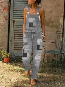 Grey Patch Jeans Pockets Ripped Destroyed Overall Long Denim Dungarees Jumpsuit
