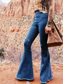 Blue Patchwork Ripped Destroyed Pockets High Waisted Fashion Flare Bell Bottom Jeans