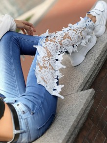 Blue Patchwork Lace Cut Out Slim High Waisted Fashion Jeans Pants