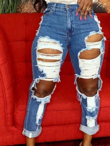 Blue Cut Out Distressed Ripped Pockets Denim High Waisted Long Jean