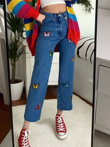 Blue Butterfly Embroidery High Waisted Long Jean Pants