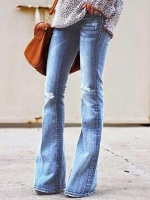 ight Blue Cut Out Distressed Ripped Pockets Denim Plus Size High Waisted Bell Bottomed Flares Long Jean