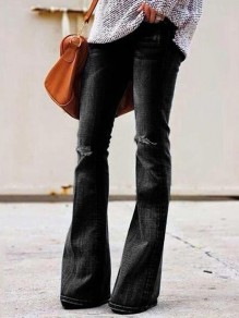 Black Cut Out Distressed Ripped Pockets Denim Plus Size High Waisted Bell Bottomed Flares Long Jean