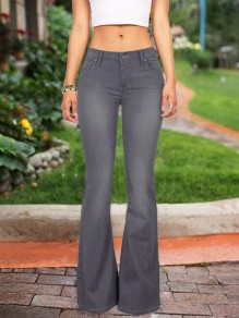 Grey Buttons Pockets High Waisted Flare Bell Bottom Bootcut Long Jeans