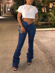 Blue Pleated Pockets Buttons High Waisted Fashion Long Flare Jeans