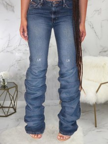 Dark Blue Pockets Buttons High Waisted Ruched Long Jeans