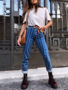 Blue Striped Print Pockets Buttons High Waisted Mom Boyfriend Casual Long Jeans
