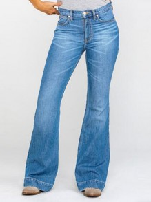 Light Blue Pockets Flare Bell Bottom Distressed Plus Size Vintage Long Jeans