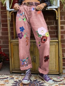 Red Patchwork Pattern Pockets Comfy Mid-rise Fashion Jeans Pants