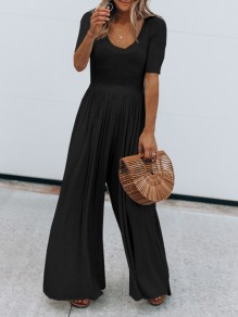 Black Draped High Waisted Going out Wide Leg Long Jumpsuit