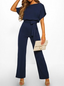 Navy Blue Buttons Sashes Round Neck Short Sleeve Elegant Long Jumpsuit
