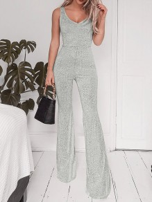 Silver Backless Sleeveless High Waisted Fashion Formal Party Flare Bell Bottom Long Jumpsuit