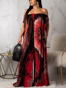 Red Tie Dyeing Off Shoulder Pockets Backless Bohemian Beachwear Party Long Jumpsuit