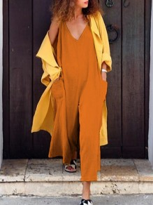 Nacarat Pockets Spaghetti Strap V-neck Fashion Wide Leg Long Jumpsuit