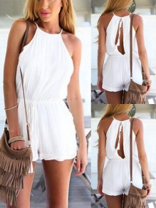 White Cut Out Comfy Fashion Going out Short Waisted Long Jumpsuit
