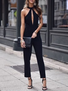 Black Cut Out Bodycon Halter Neck Ttrendy Fashion Jumpsuit