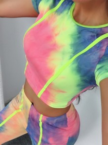 Yellow Pink Tie Dye Colorful Two Piece High Waisted Fashion Sports Biker Jumpsuit