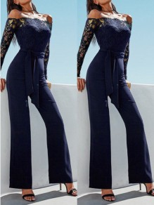 Blue Lace Pockets Going out Comfy Fashion High Waisted Long Jumpsuit