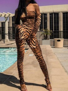 Brown Zabra Print Off Shoulder Flare Sleeve Bodycon Catsuit Clubwear Long Jumpsuit