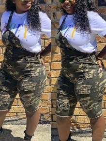Camouflage Cut Out Distressed Ripped Pockets Bodycon Denim Overall Short Jumpsuit