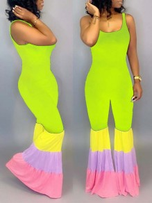 Green Rainbow Striped Pleated Bodycon Spaghetti Strap Bohemian Bell Bottomed Flares Long Jumpsuit