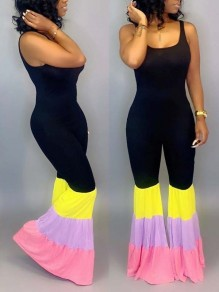 Black Rainbow Striped Pleated Bodycon Spaghetti Strap Bohemian Bell Bottomed Flares Long Jumpsuit