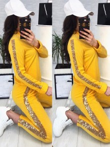 Yellow Going out Comfy Fashion High Waisted Long Jumpsuit