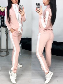 Pink Going out Comfy Fashion High Waisted Long Jumpsuit