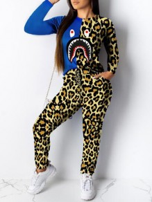 Yellow Leopard Shark Print Pockets Drawstring Two Piece Casual Long Jumpsuit