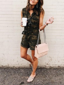 Green Camouflage Sashes Pockets Bodycon Comfy Going out Jumpsuit
