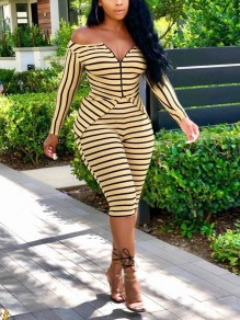 Yellow Striped Off Shoulder V-neck Bodycon Party Short Jumpsuit