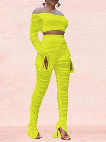 Neon Yellow Patchwork Grenadine Two Piece Sheer Party Long Jumpsuit