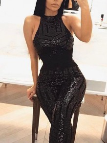 Black Patchwork Sequin Halter Neck Backless Bodycon Sparkly Glitter Birthday Party Long Jumpsuit