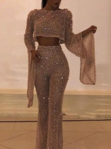 Rose Gold Sequin Backless Flare Sleeve Bell Bottom Sparkly Banquet Party Long Jumpsuit
