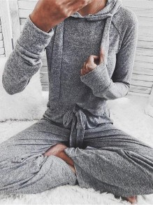 Grey Long Sleeve High Waisted Two Piece Casual Hooded Long Jumpsuit
