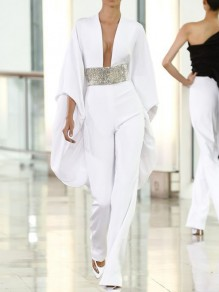 White Patchwork Sequin Bell Sleeve Deep V-neck Sparkly Glitter Birthday Party Wide Leg Palazzo Long Jumpsuit