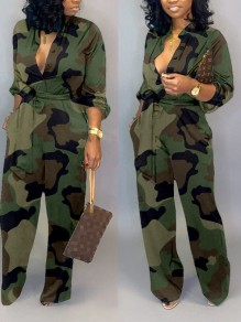 Camouflage Buttons Belt Pockets Casual Wide Leg Palazzo Long Jumpsuit