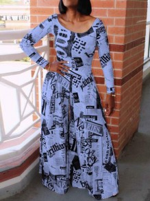Blue-Black Newspapers Print High Waisted Casual Wide Leg Long Jumpsuit