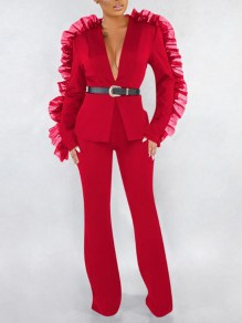 Red Patchwork Grenadine Ruffle Two Piece Flare Bell Bottom Elegant Party Long Jumpsuit