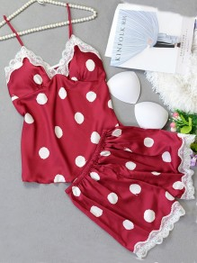 Red Polka Dot Pattern Lace Two Piece Elegant Short Jumpsuit