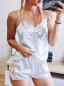White Patchwork Lace Satin Cut Out 2-in-1 V-neck Spaghetti Strap Shorts Pajamas Jumpsuit Sleepwear