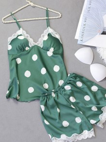 Green Polka Dot Print Lace V-neck Sleeveless Mid-rise Fashion Jumpsuits