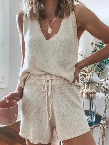 Beige Drawstring Two Piece Crochet V-neck Sleeveless Pajamas Short Lounge Set