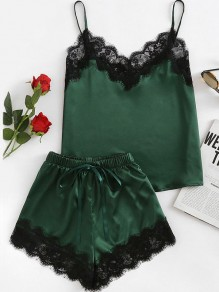 Green Patchwork Lace Two Piece Sleepwear V-neck Elegant Short Satin Pajamas Set