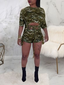Camouflage Lace-up Cut Out Two Piece Bodycon Casual Short Jumpsuit