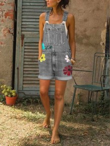 Grey Flowers Print Pockets High Waisted Overall Pants Long Denim Dungarees Short Jumpsuit