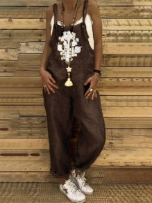 Coffee Patchwork Pockets One Piece Overall Pants Elegant Long Jumpsuit