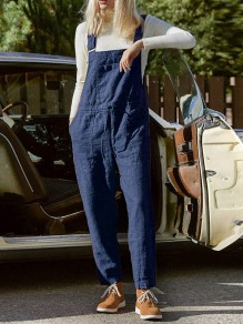 Blue Patchwork Pockets Shoulder Strap Sleeveless Fashion Overall Pants Jumpsuits