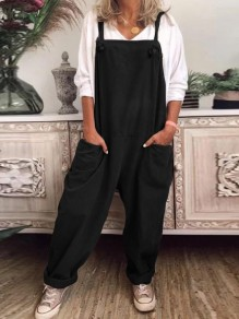 Black Patchwork Pockets Shoulder Strap Overall Pants Oversized Fashion Jumpsuits