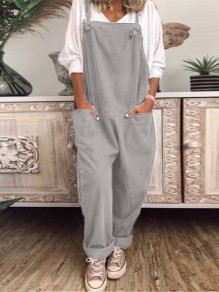 Grey Patchwork Pockets Shoulder Strap Overall Pants Oversized Fashion Jumpsuits